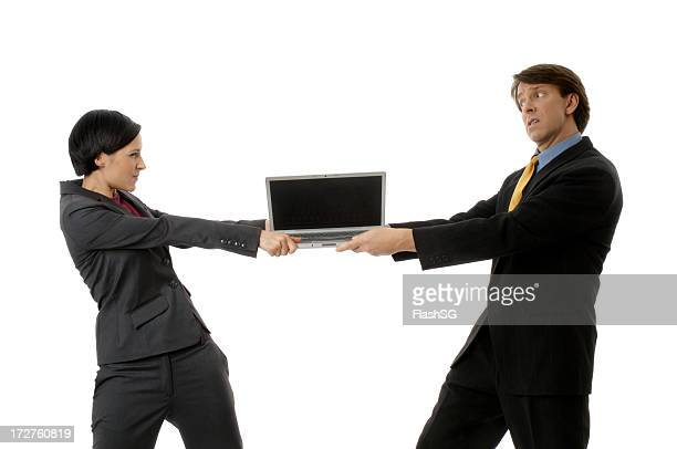 Businesswoman And Businessman With Laptop