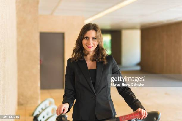 Businesswoman and her bike