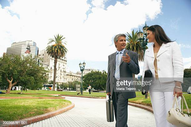Businesswoman and man walking in park talking