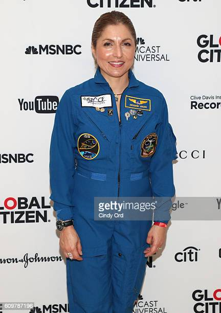 Businesswoman and selffunded space traveler Anousheh Ansari poses backstage at Global Citizen The World On Stage at NYU Skirball Center on September...