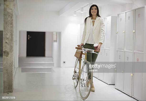 Businesswoman arriving to work
