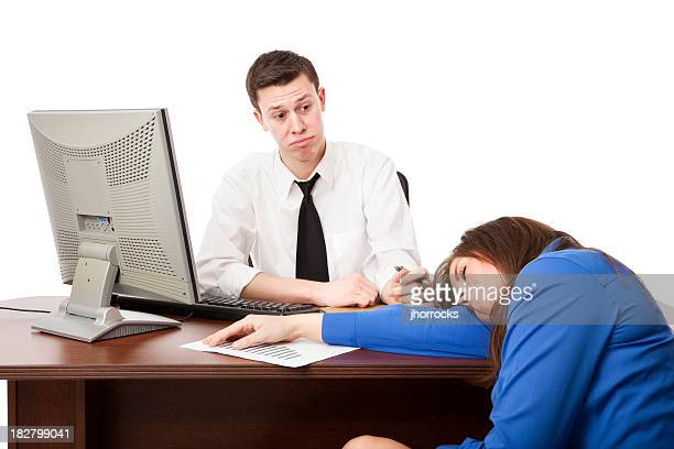 Businesswoman Asleep at Boss's Desk