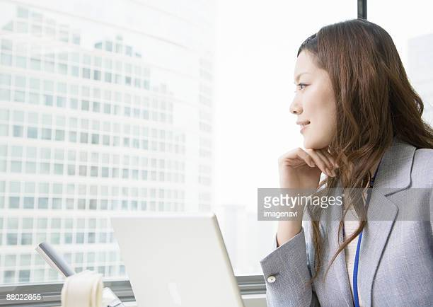 Businesswoman at desk working