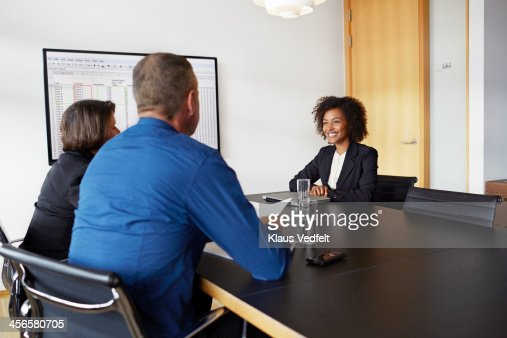 Businesswoman at job interview : Stock Photo