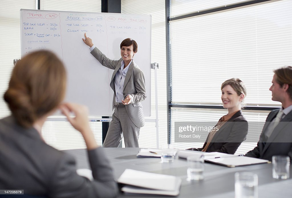 Businesswoman at whiteboard presenting to co-workers