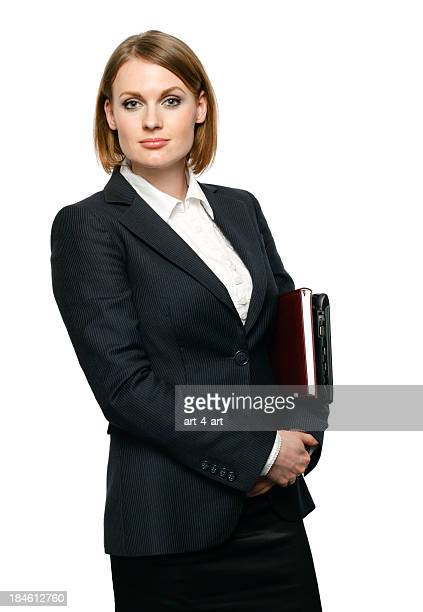 businesswoman carrying laptop
