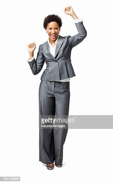 Businesswoman Celebrating - Isolated