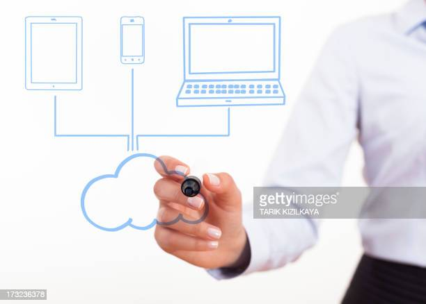 Femme d'affaires dessin schéma un nuage informatique