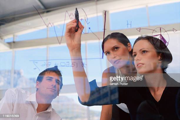 Businesswoman drawing graphs on glass