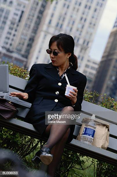 Businesswoman Eating Lunch