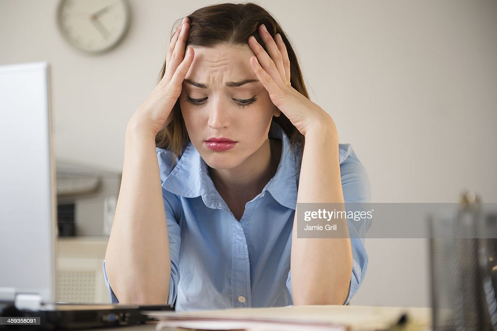 Businesswoman frustrated at work : ストックフォト