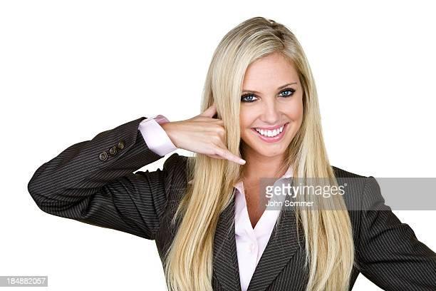 Businesswoman gesturing call me