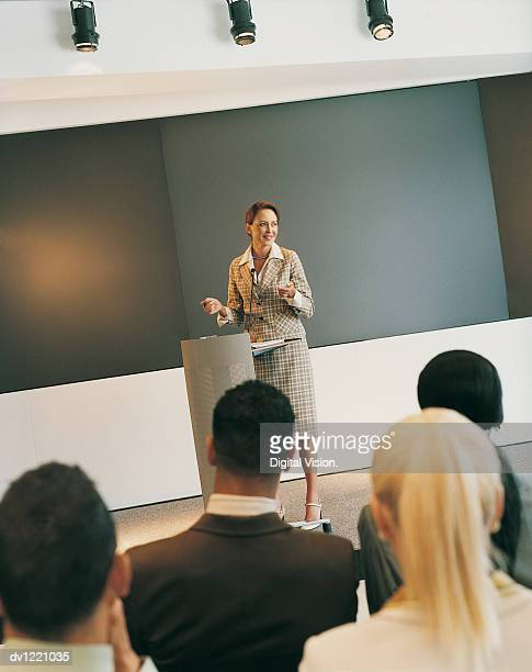 Businesswoman Giving a Presentation to a Small Group of Colleagues in a Seminar Room