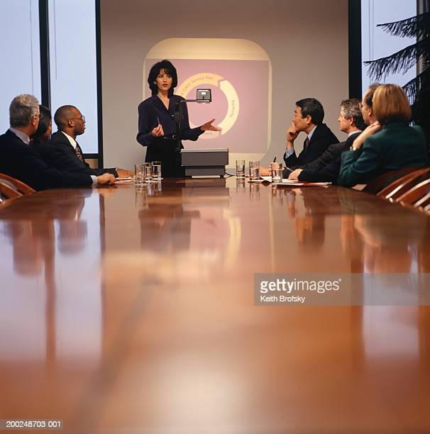 Businesswoman giving presentation in boardroom