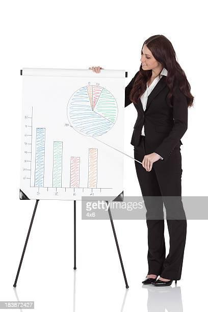 Femme d'affaires donnant la présentation