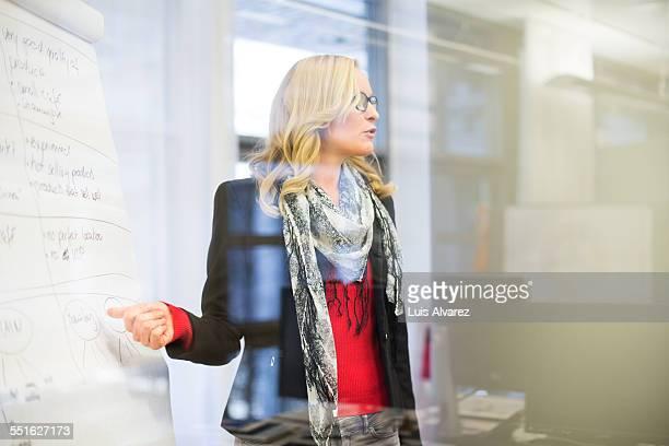 Businesswoman giving presentation