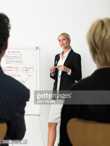 Businesswoman giving presentation standing by flipchart : Bildbanksbilder