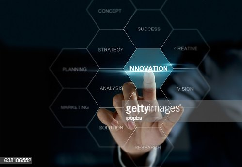 Businesswoman hand touch word innovation on screen, business concept : Stock-Foto