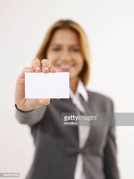 Businesswoman Handing Business Card