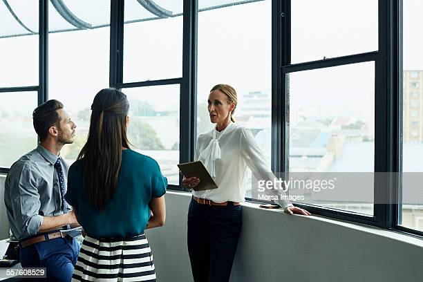Businesswoman having discussion with team