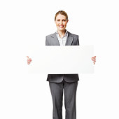 Businesswoman Holding a Blank Sign - Isolated