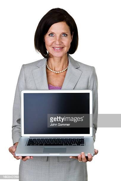 Businesswoman holding a computer