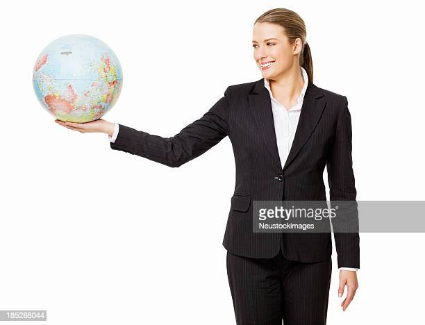 Businesswoman Holding a Globe - Isolated