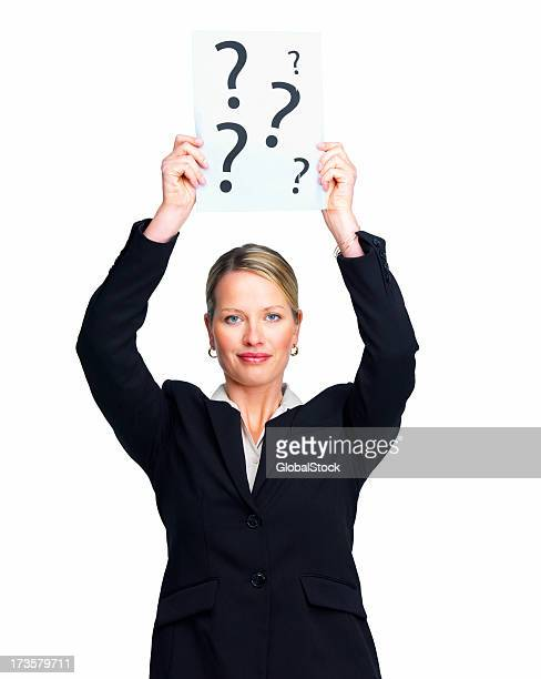 Businesswoman holding a paper with question marks