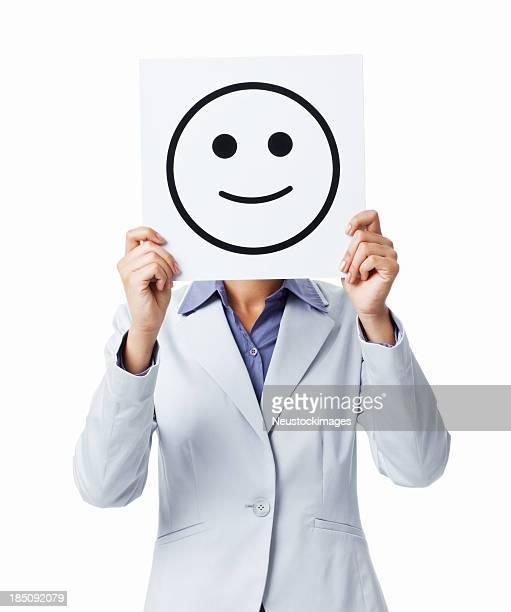 Cara sonriente feliz empresaria sosteniendo aislado Sign