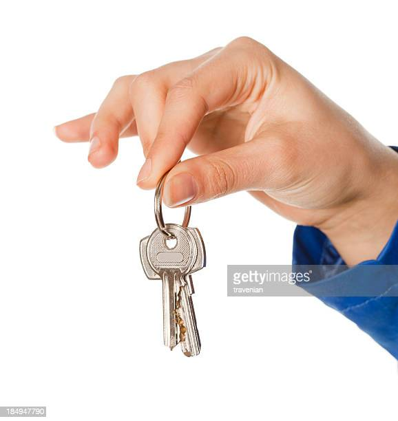 Businesswoman holding key