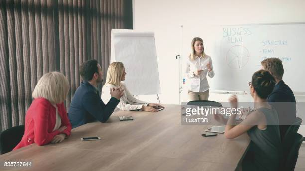 Businesswoman holding presentation