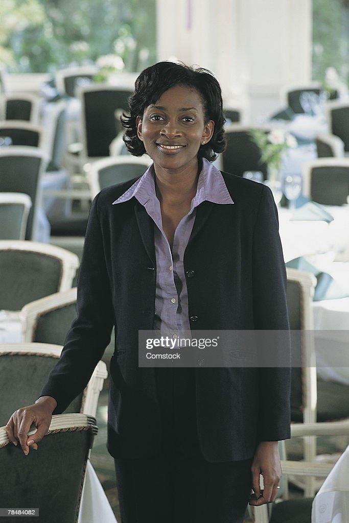 Businesswoman in a restaurant : Stock Photo
