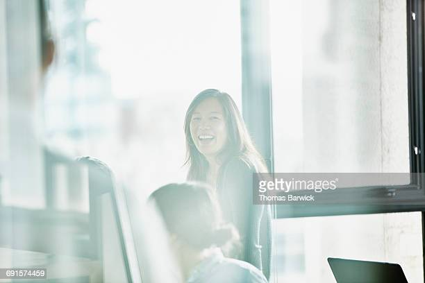 Businesswoman in discussion during meeting