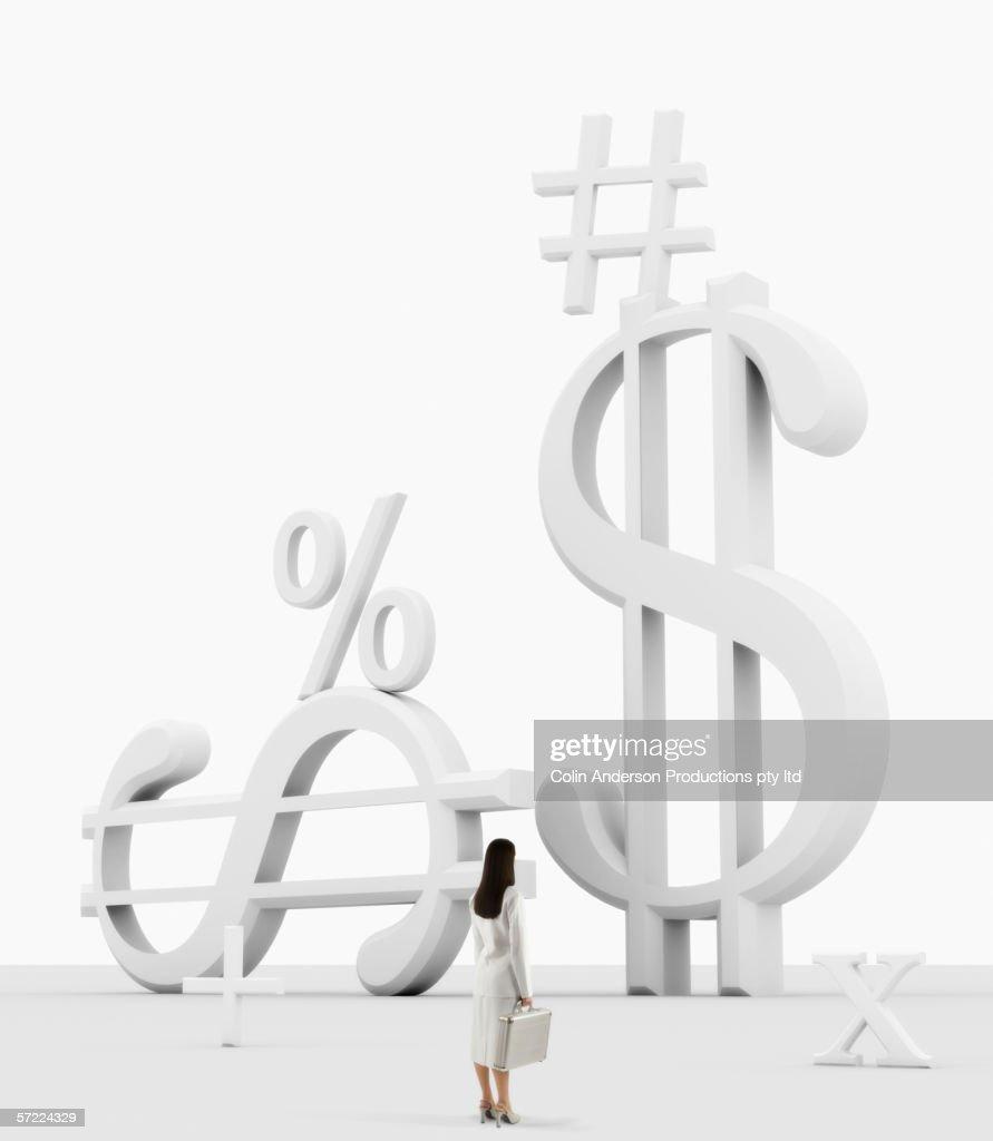 Businesswoman in financial environment