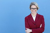 Business woman in glasses with a PERFECT SMILE.