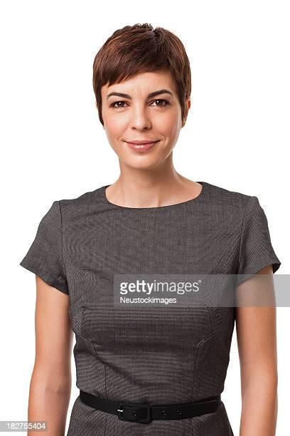 Geschäftsfrau in Grau Kleid, isoliert auf weiss