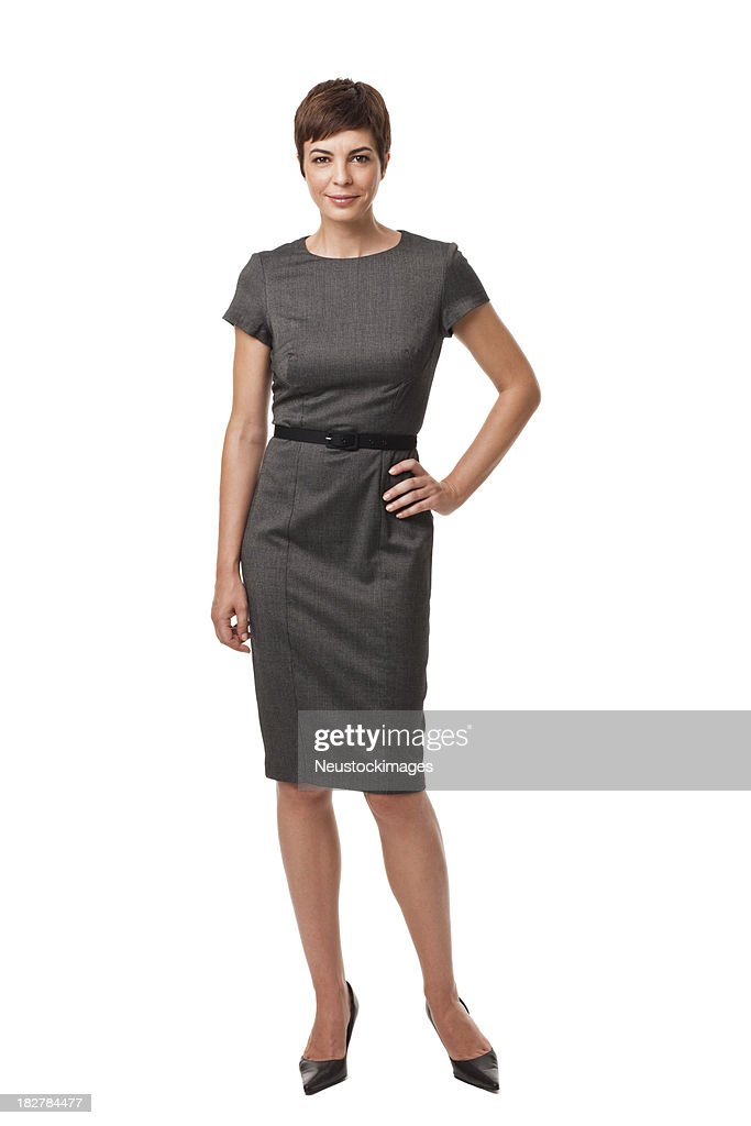 Businesswoman in Gray Dress Isolated on White