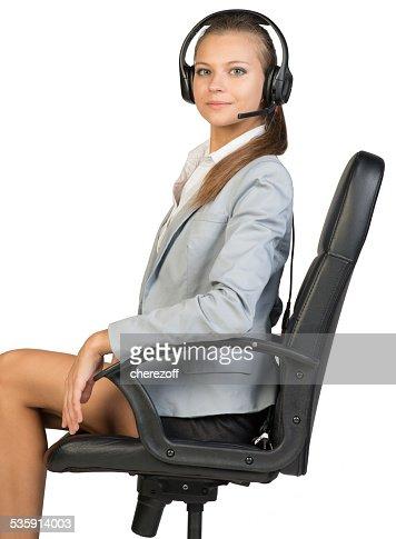 Businesswoman in headset : Stock Photo