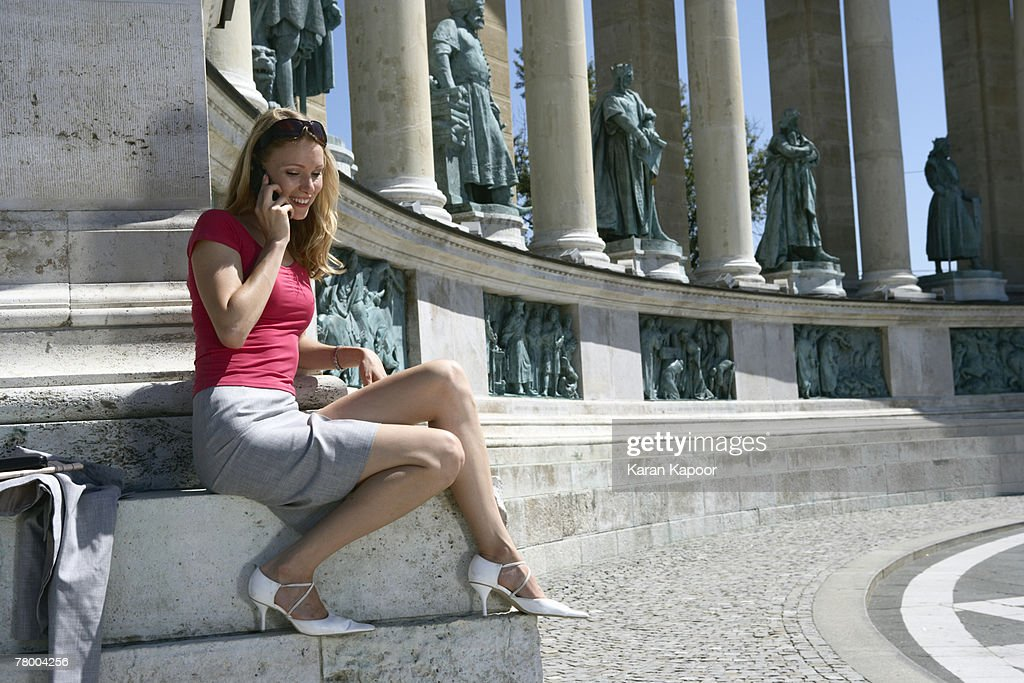 Businesswoman in Hero Square. : Stock Photo