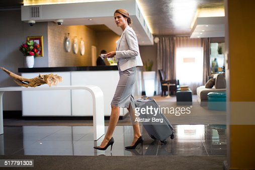 Businesswoman in hotel lobby