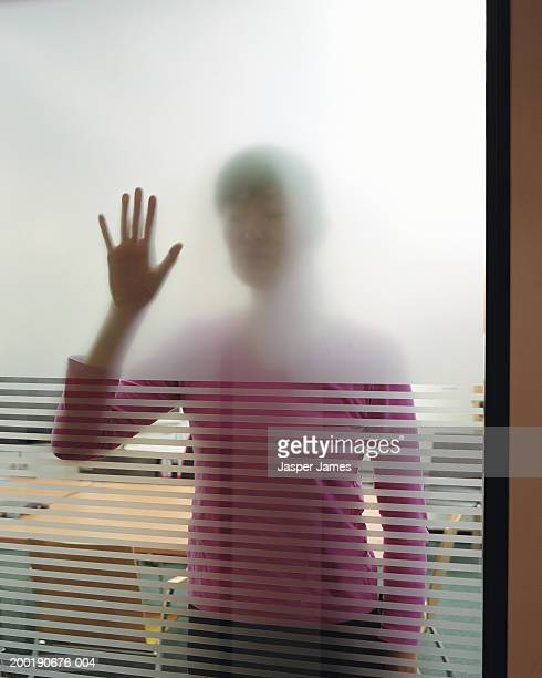 Businesswoman in meeting room, hand on window, view through glass