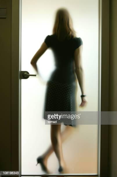 Businesswoman in the door