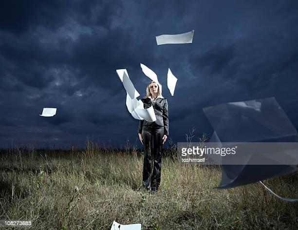 Geschäftsfrau in das Feld