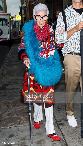 Businesswoman interior designer and fashion icon Iris Apfel is seen arriving during Spring 2016 New York Fashion Week on September 10 2015 in New...