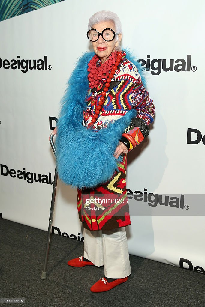 Businesswoman Iris Apfel poses backstage at the Desigual fashion show during Spring 2016 New York Fashion Week: The Shows at The Arc, Skylight at Moynihan Station on September 10, 2015 in New York City.
