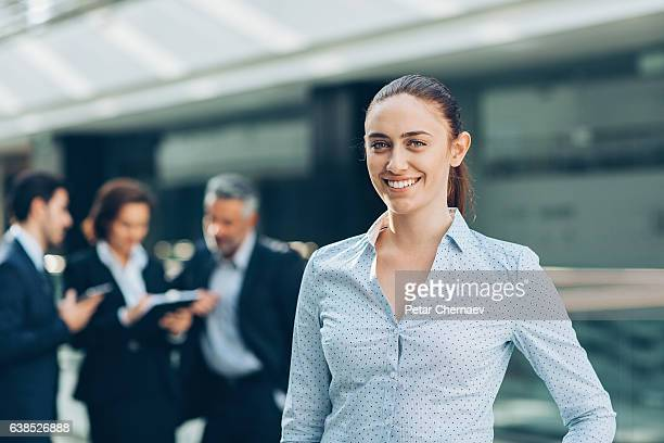 Businesswoman leading a group