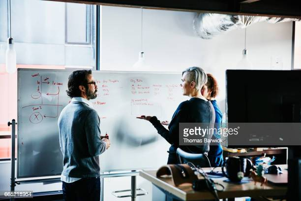 Businesswoman leading planning meeting with coworkers in startup office