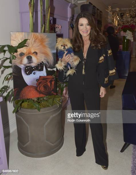 Businesswoman Lisa Vanderpump and dog Giggy pose for portrait at The Vanderpump Dog Center Preview on March 1 2017 in Los Angeles California