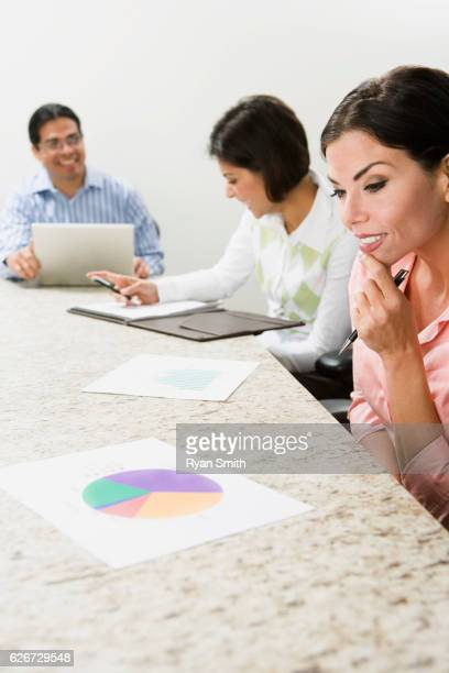 Businesswoman looking at a pie chart