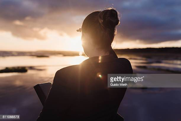 Businesswoman looking at horizon.